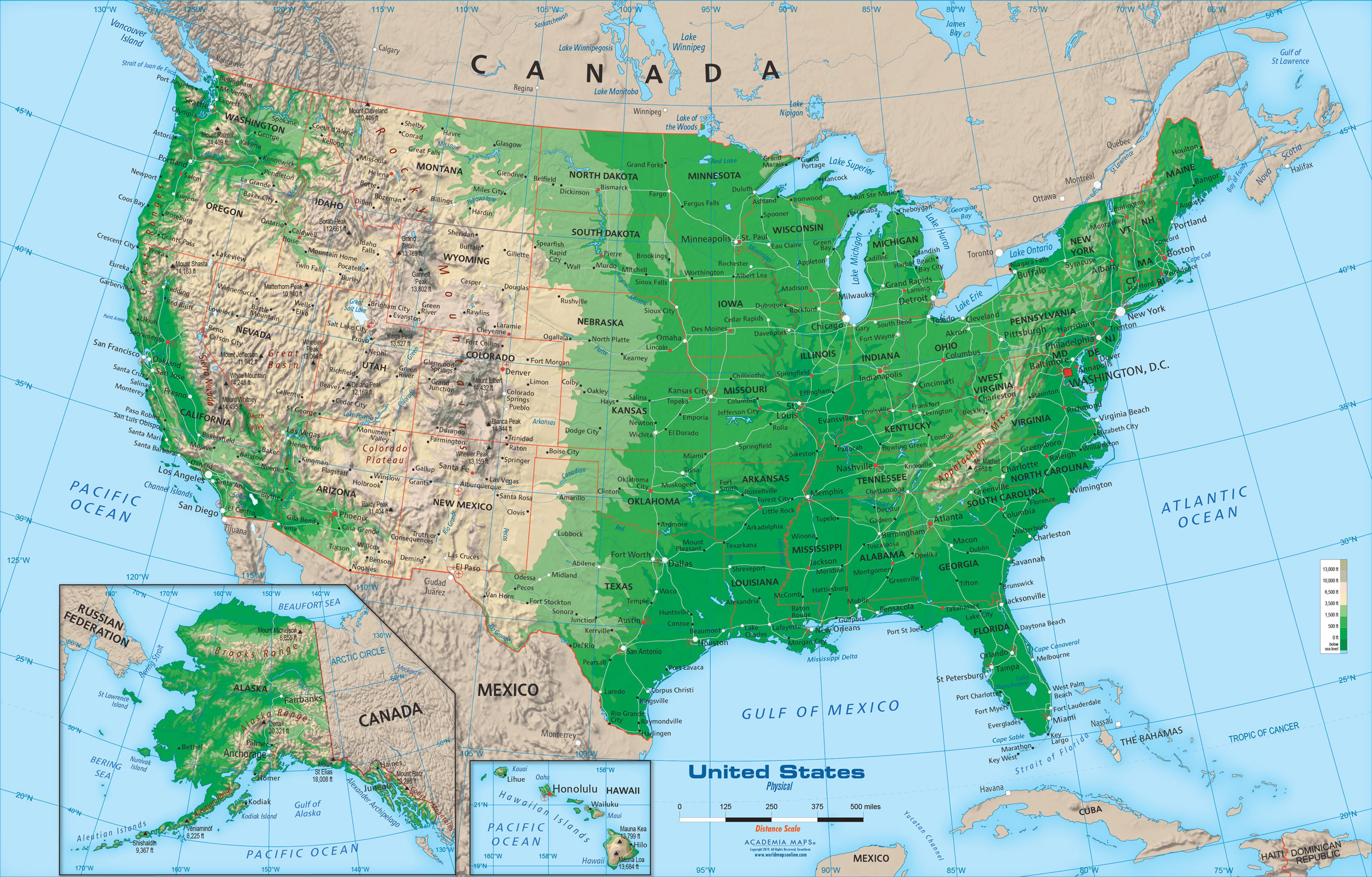 Whether you're hitting the open road or just letting your imagination wander, a map is essential to your sense of direction. United States Physical Map Wall Mural From Academia