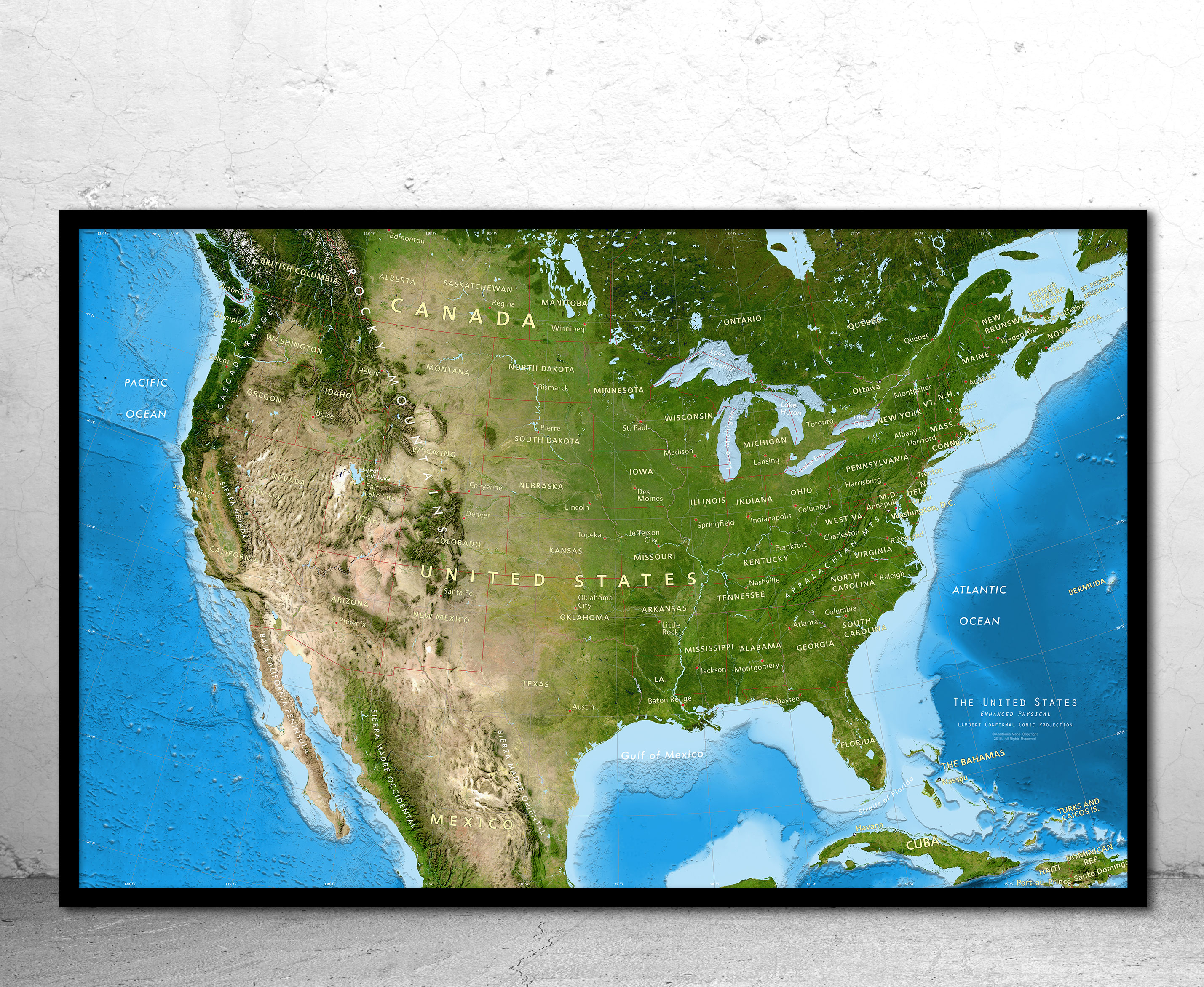 The map legend often also has a scale to help the map reader gauge dista. United States Satellite Image Giclee Print Enhanced Physical Photo Paper Canvas Metal Print