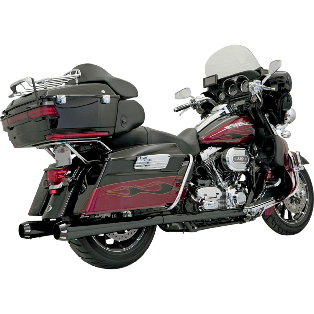 bassani p bagger stepped true duals exhaust system with power curve and megaphone mufflers for 1995 2008 harley touring