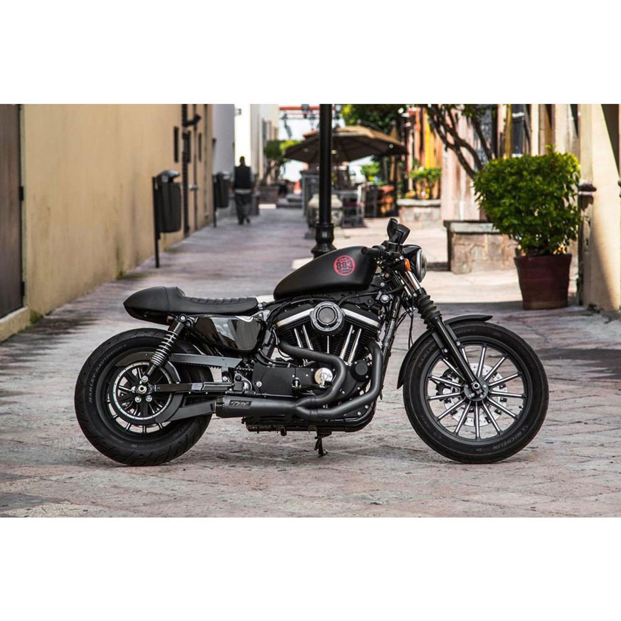 two brothers racing 2 into 1 comp s exhaust for 2004 2013 harley sportster black with carbon fiber tip