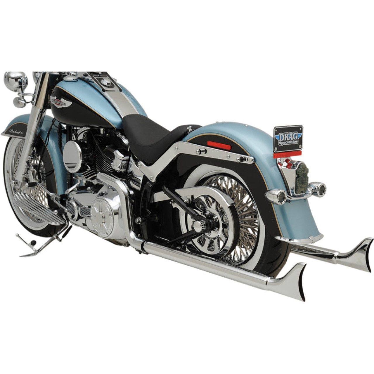 bassani chrome 36 true duals exhaust with 2 25 fishtail mufflers for 2007 2017 harley softail no baffles