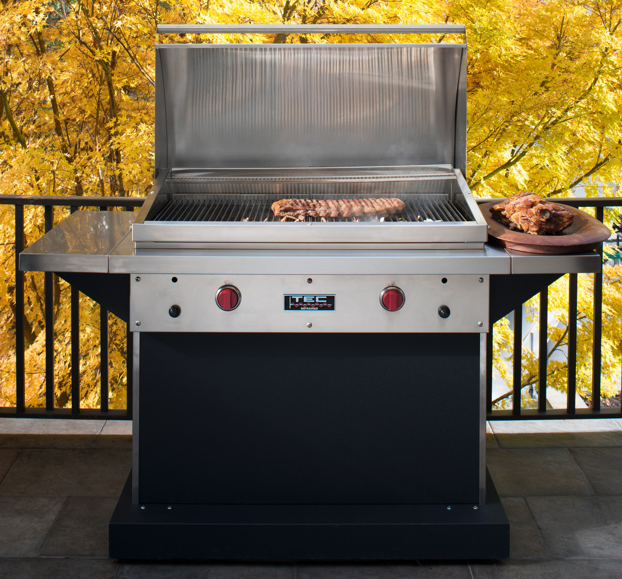 tec patio fr infrared gas grill with side shelves 44