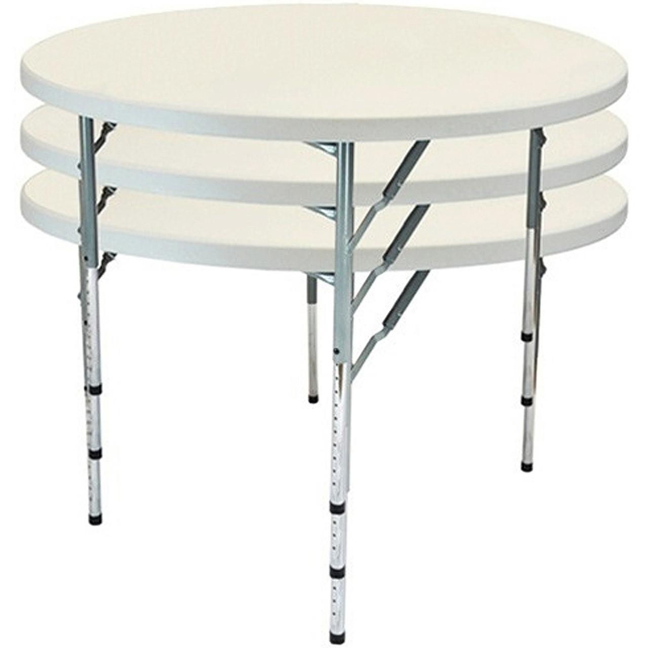 advantage 4 ft round adjustable plastic folding table ftd48r adj seats 6 adults