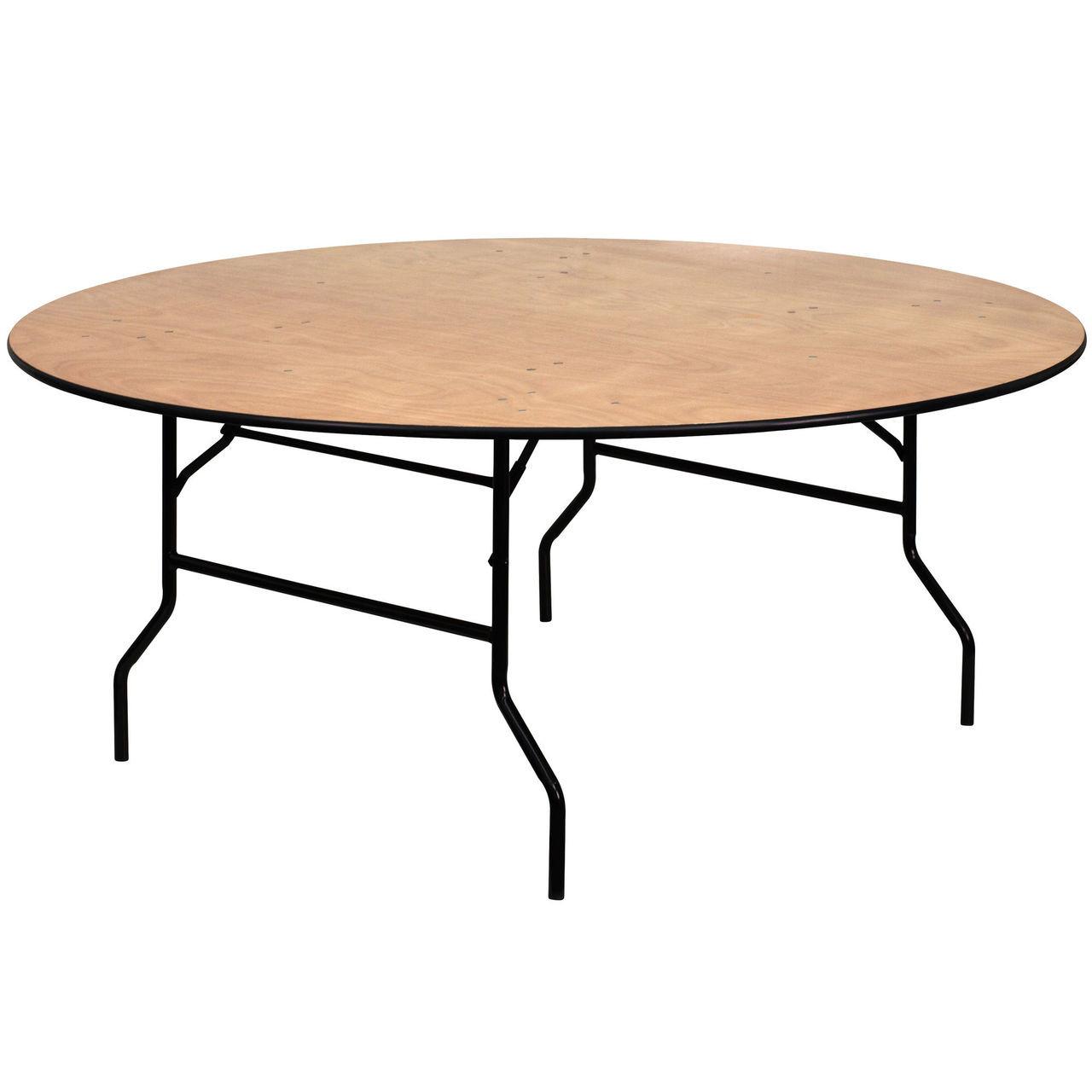 advantage 6 ft round wood folding banquet table yt wrft72 tbl gg