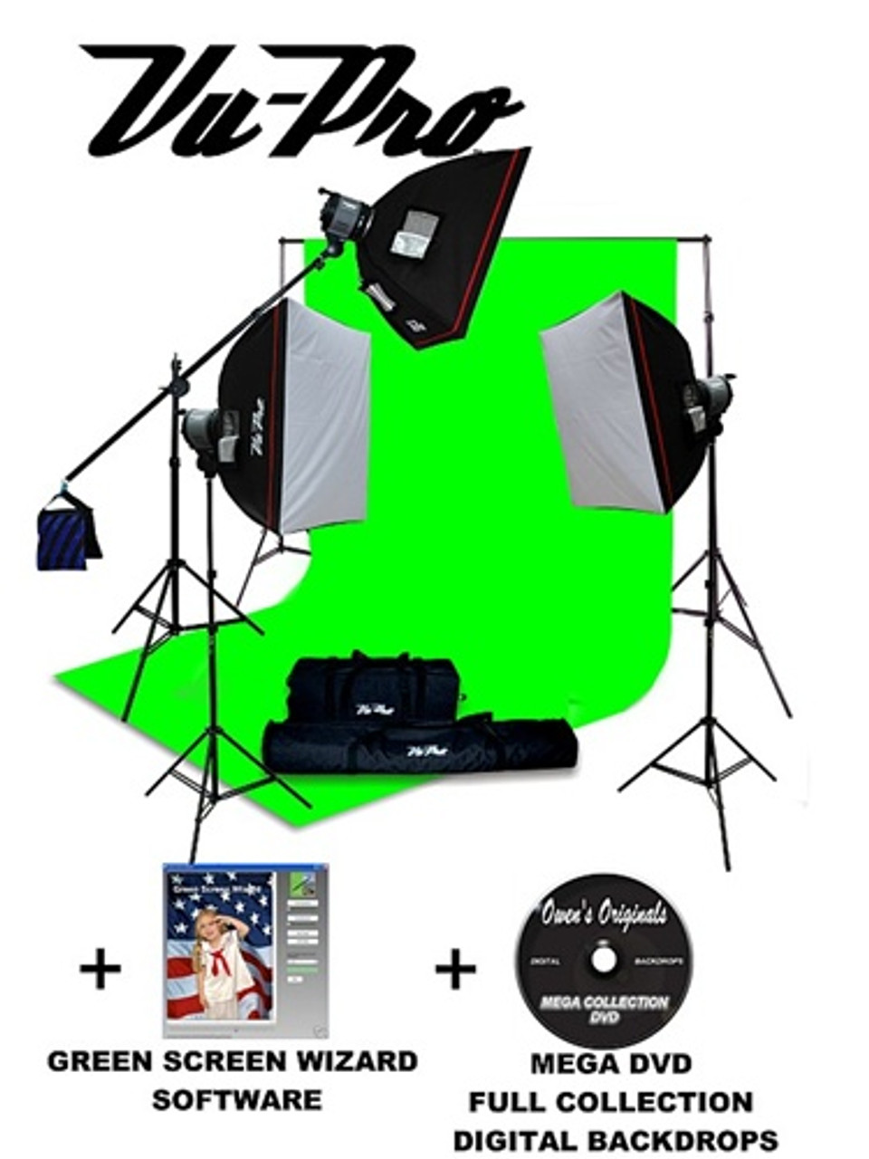 vu pro complete digital pro photography studio package with 3000 watt softbox lighting kit backdrop stand light stands green screen software