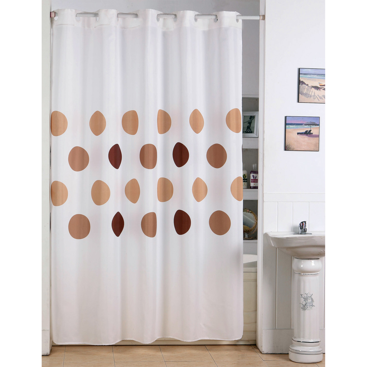 extra long shower curtain 72 x 78 inch msv france polyester fabric polka dot brown
