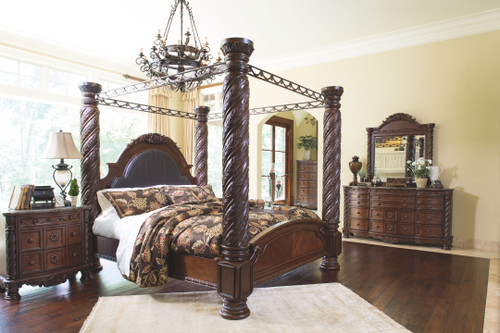 north shore dark brown california king poster bed with canopy