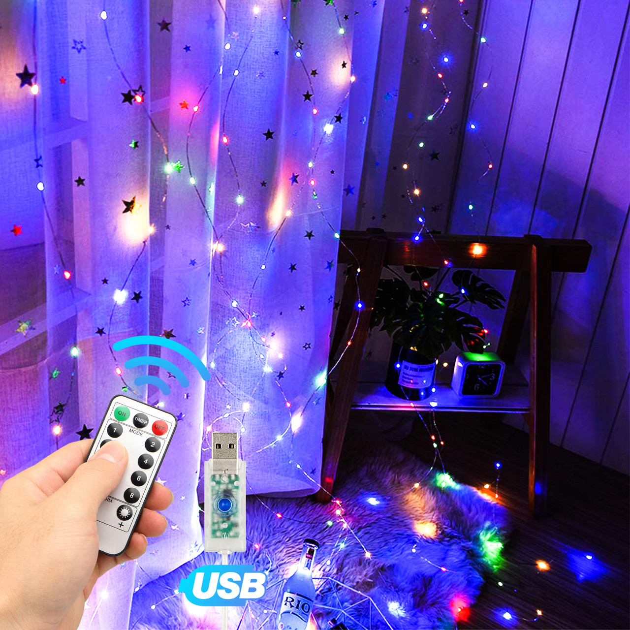 https wowparts com window curtain string light usb 8 modes setting 300 led curtain fairy lights with remote control timer for bedroom home garden wall wedding party outdoor indoor multicolor