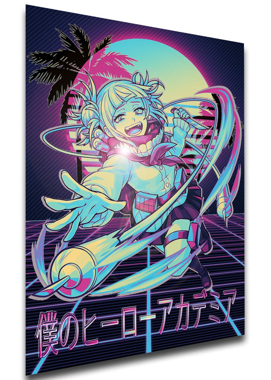 poster vaporwave 80s style my hero