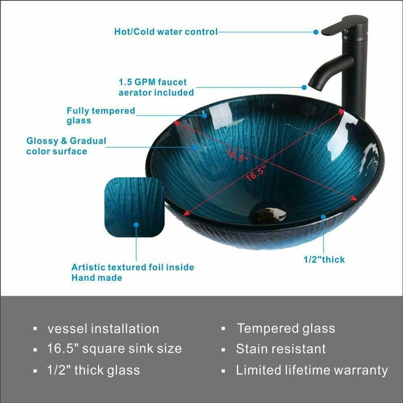 modern elegant glass dark blue bathroom vessel sink faucet pop up combo set