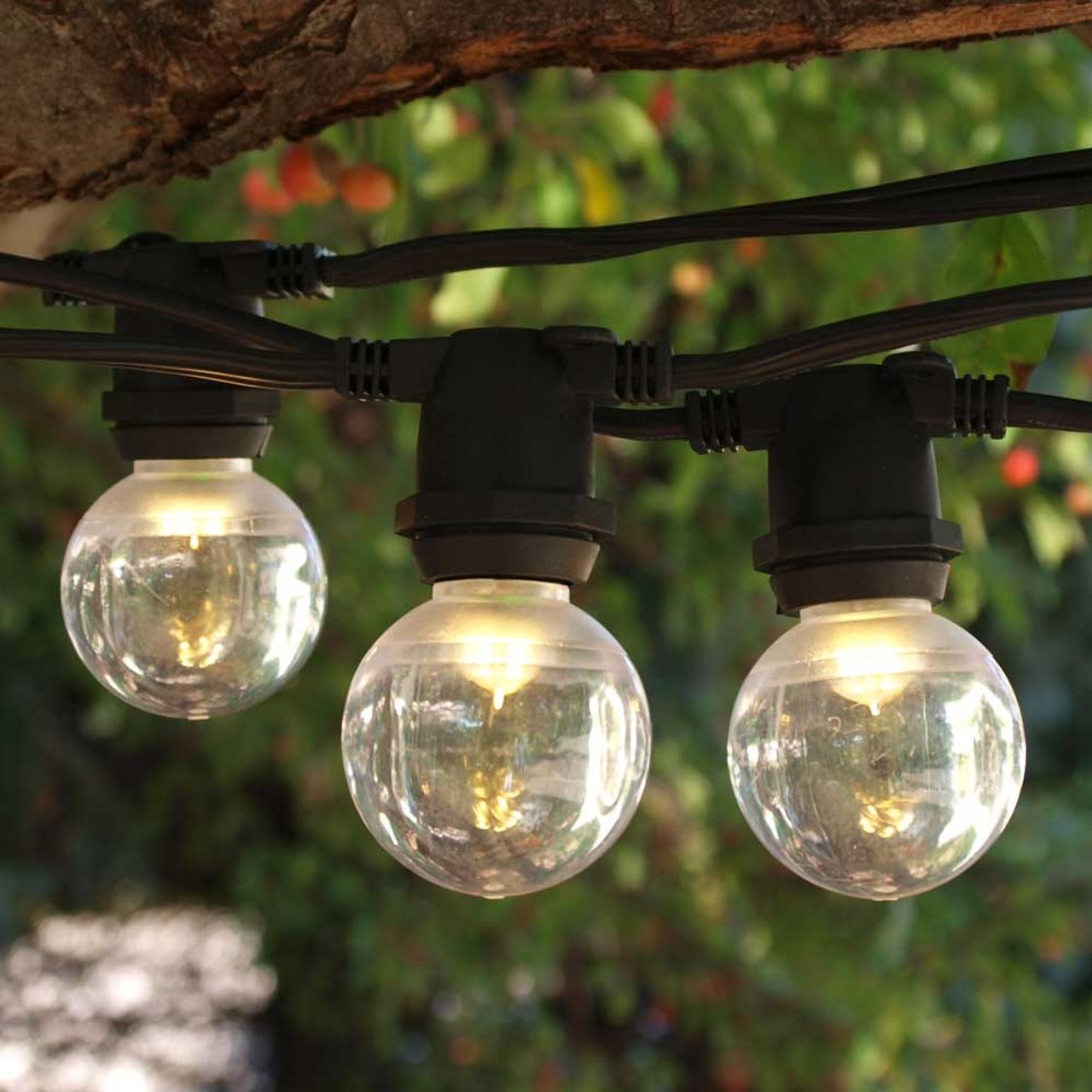 56 ft black commercial c9 string light with smooth led g40 warm white bulbs