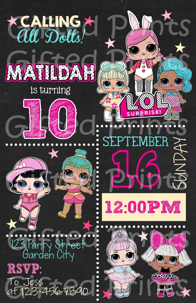 lol surprise birthday invitation