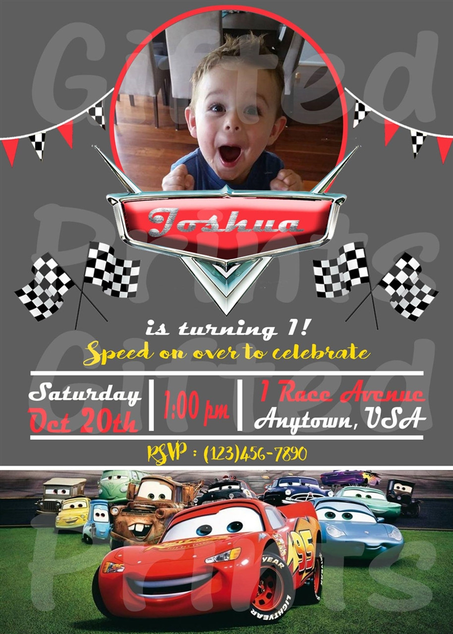cars lightning mcqueen birthday invitation with picture vertical