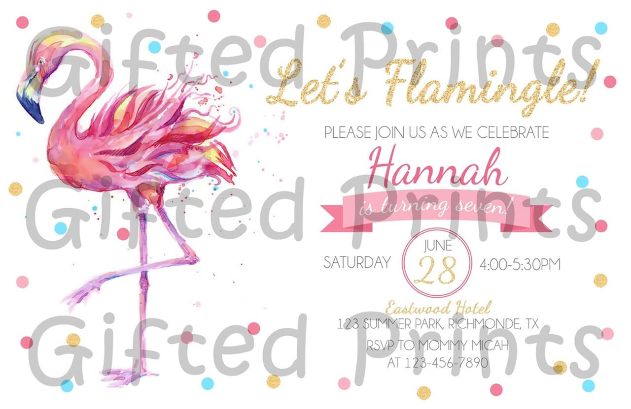 flamingo birthday invitation watercolor polka dots