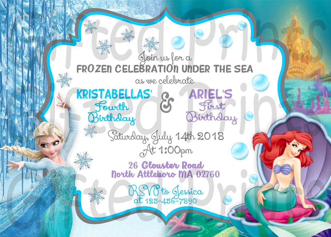 frozen and little mermaid dual birthday invitation