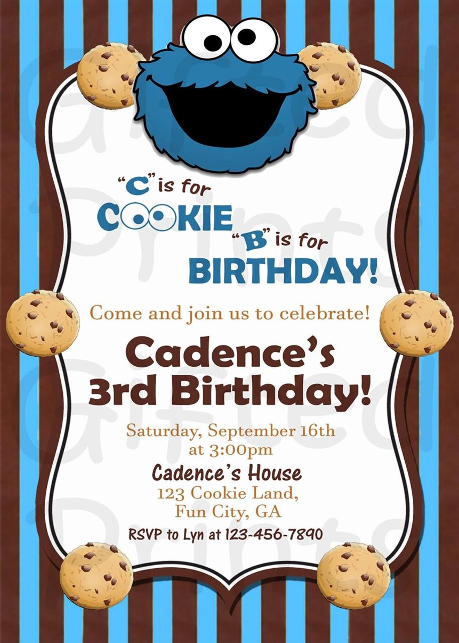 cookie monster sesame street birthday invitation stripes