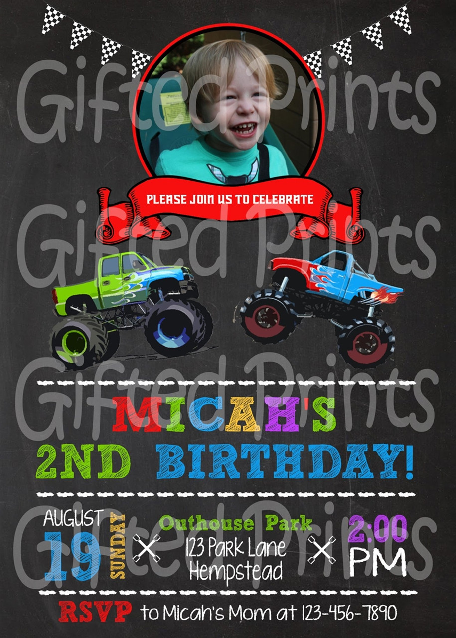 monster truck birthday invitation with picture