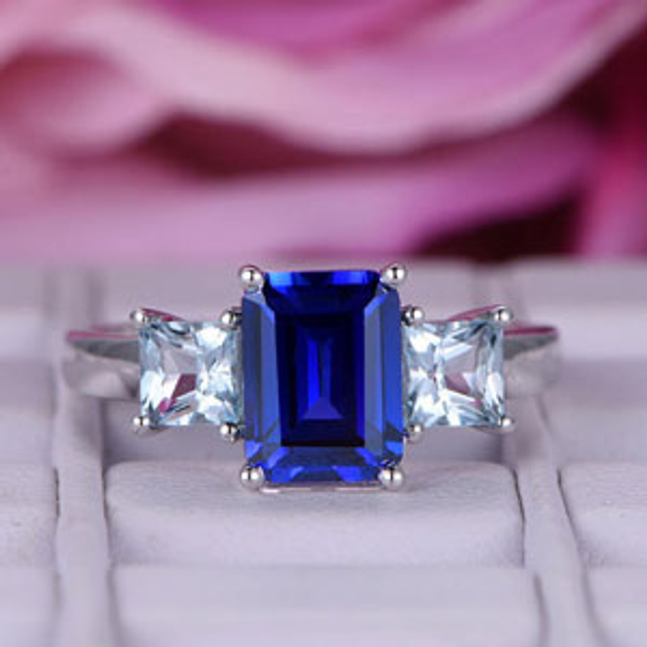 Emerald Cut Sapphire Engagement Ring/14k White gold ...