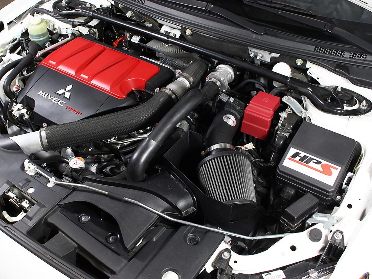 hps black shortram air intake heat shield for 08 15 mitsubishi lancer evo x turbo