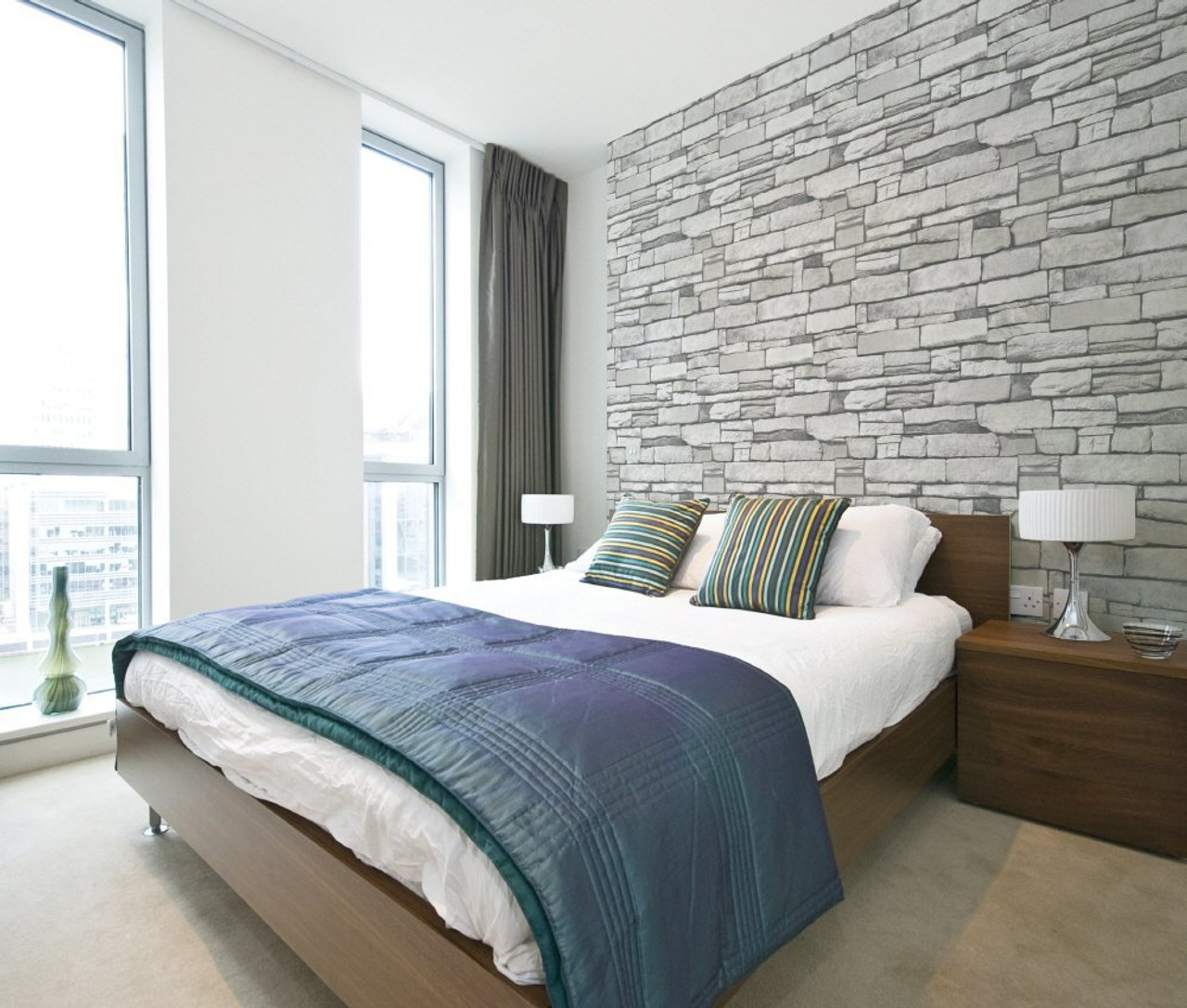 Stacked Brick Pattern Self Adhesive Peel And Stick Mural Contact Wallpaper White Grey 50cm X 3m 19 6 X 118 0 15mm Waterproof Pvc Kitchen Bed