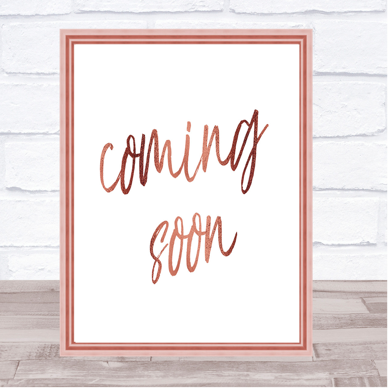 coming soon quote print poster rose gold wall art