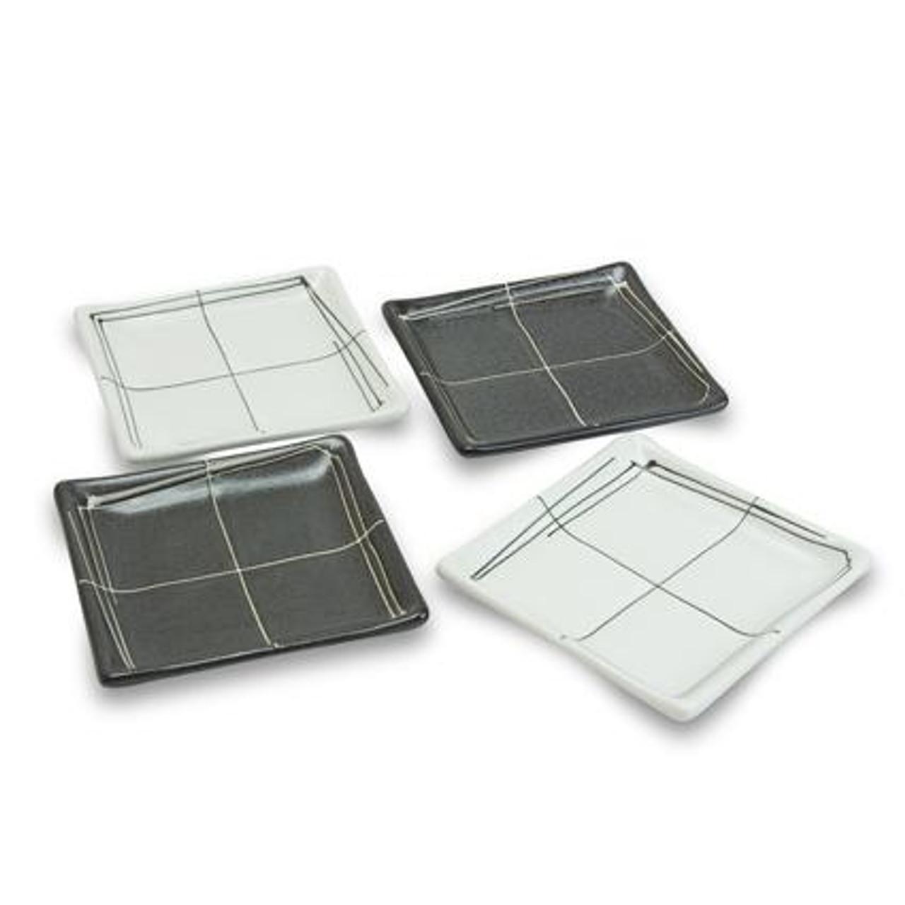 Black White Square Plate Set Merae