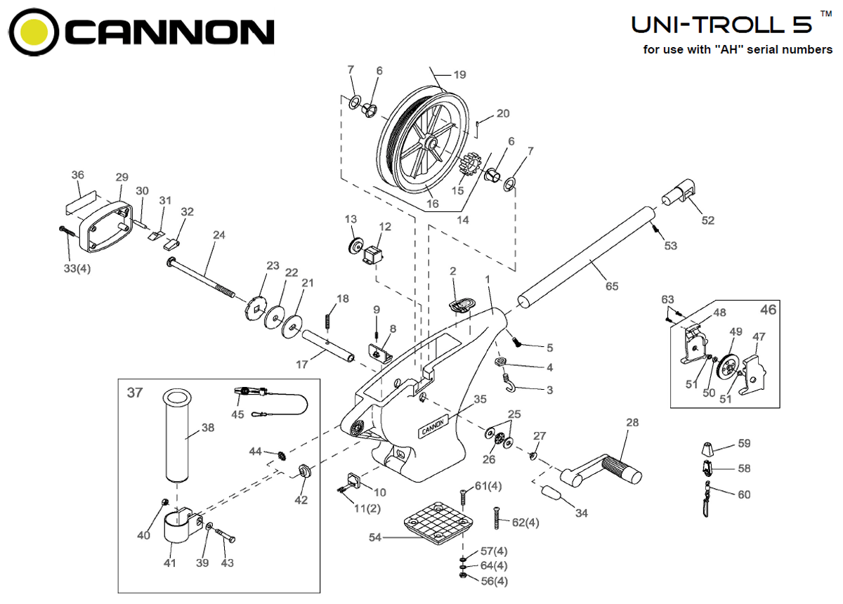 Cannon Uni Troll 5 Downrigger Parts From Fish307