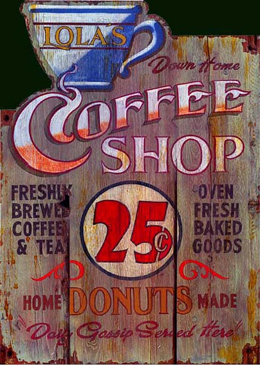vintage signs lola s coffee shop