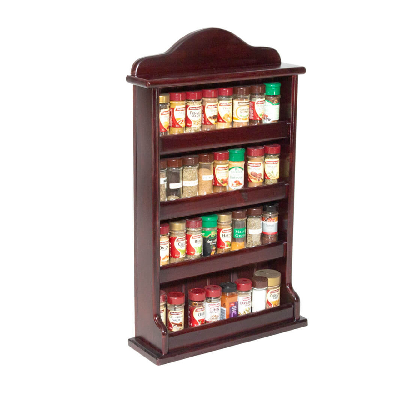 spice rack wooden crown 4 tiers solid timber fence 32 spice jars