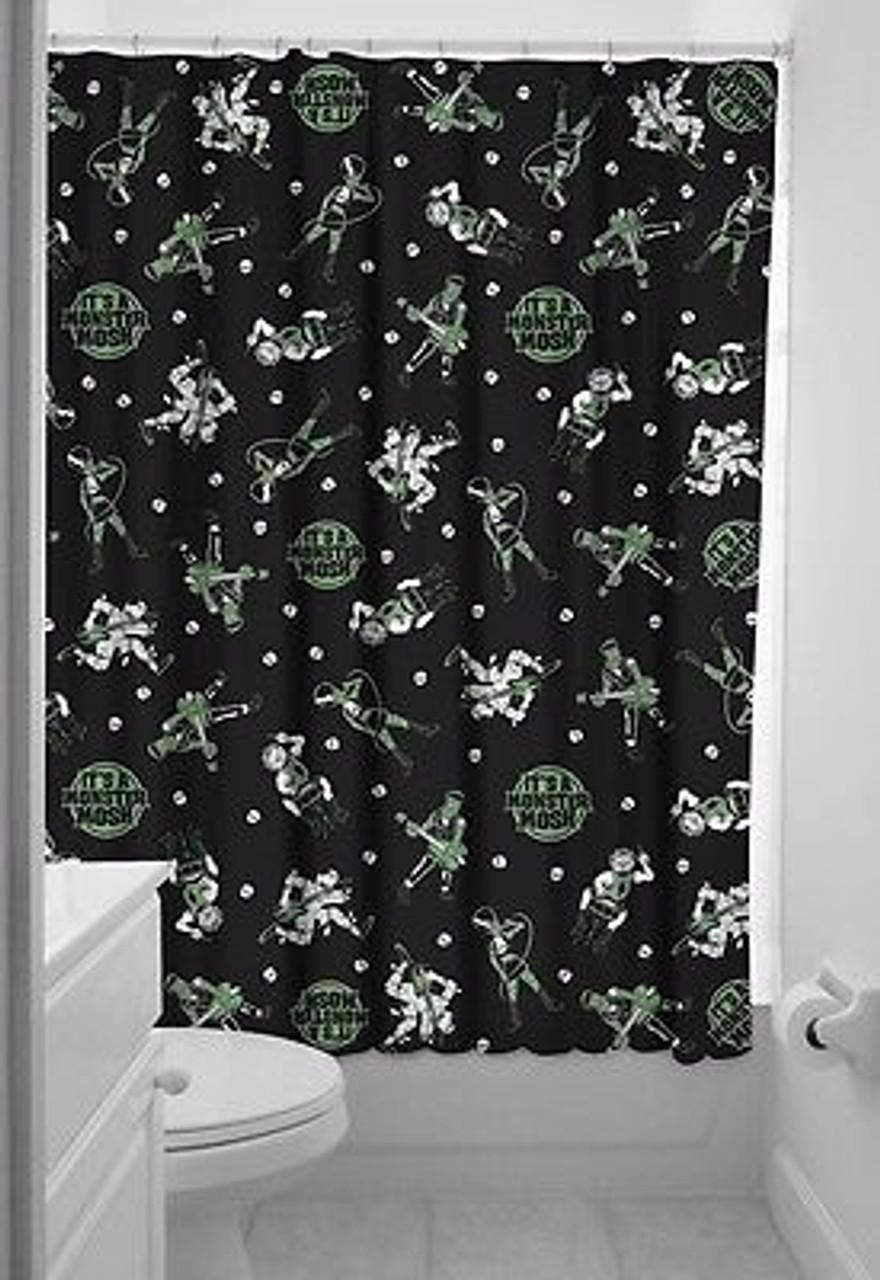 sourpuss monster mosh punk goth shower curtain bath punk goth pinup tattoo