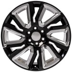 22 Fit Gmc Sierra Chevrolet Silverado 1500 Gloss Black With Chrome Inserts 2019 2020 Fitment Set Of 4 22x9 Rims Stock Wheel Solutions