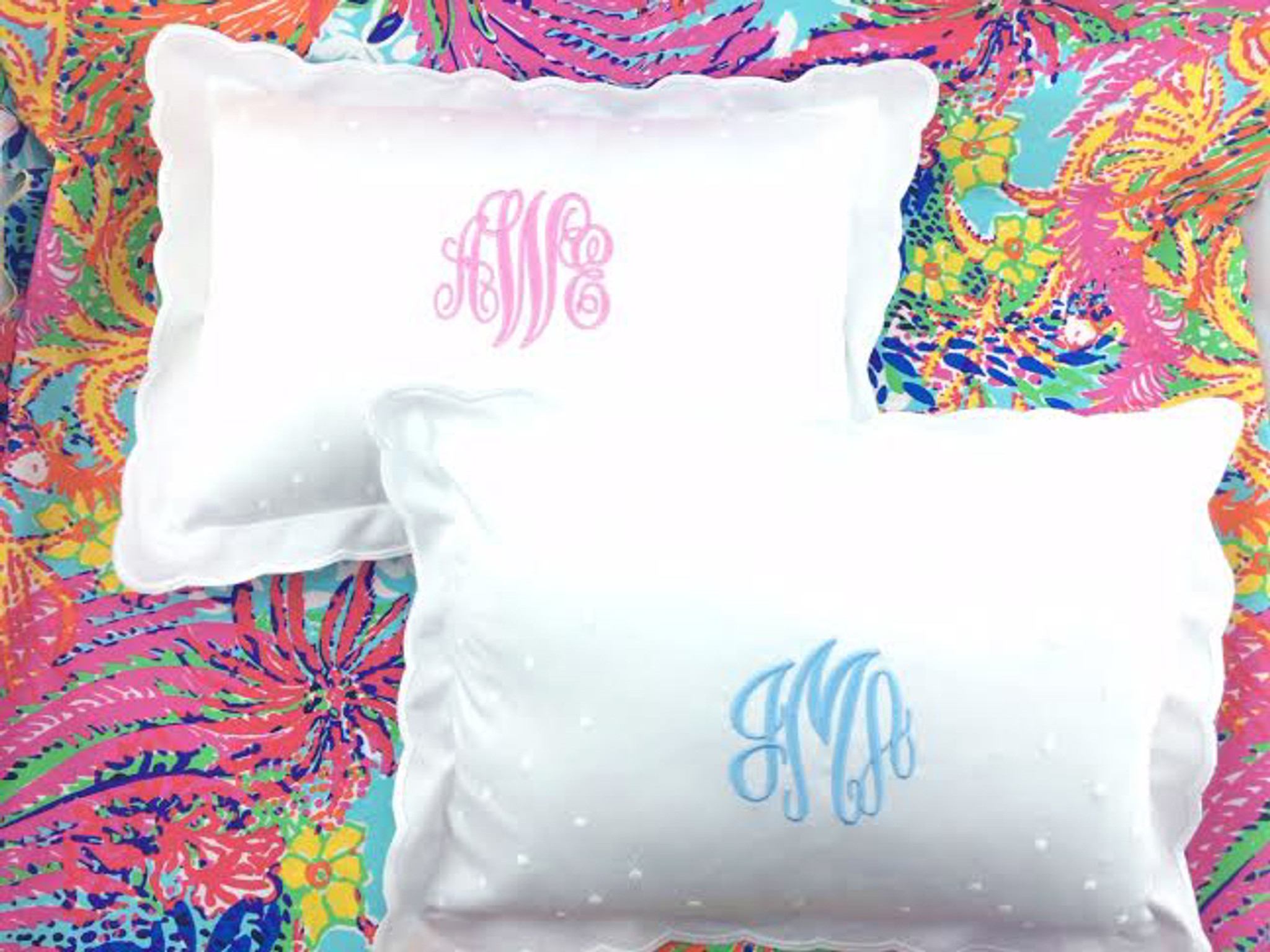 monogrammed scallop baby pillow
