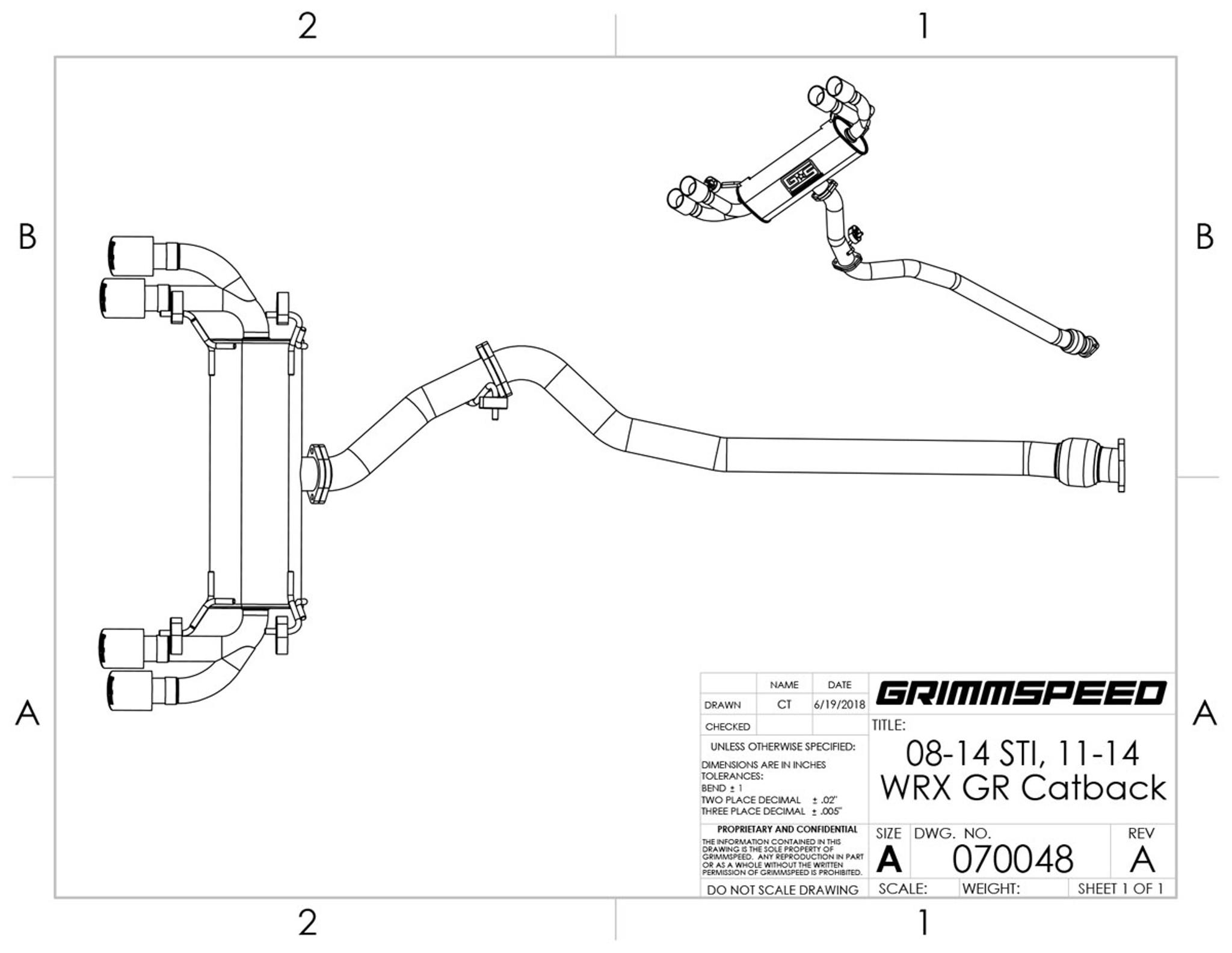 catback exhaust system un resonated 11 14 wrx 08 14 sti hatchback