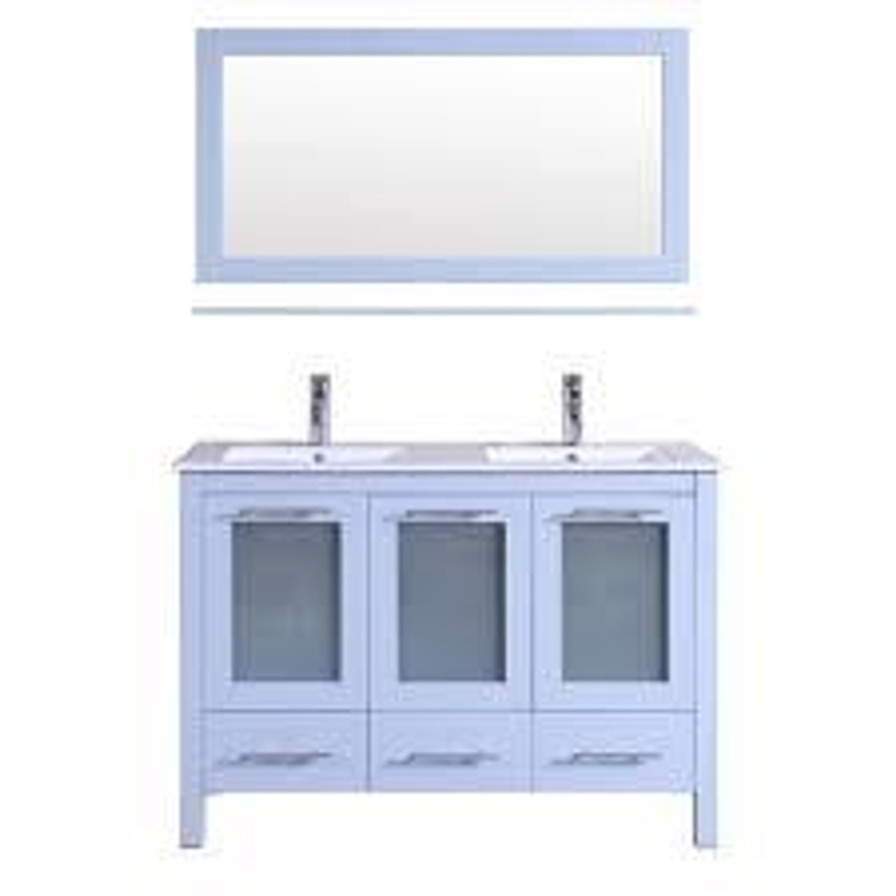 Victoria 48 Double Sink Bathroom Vanity White York Taps