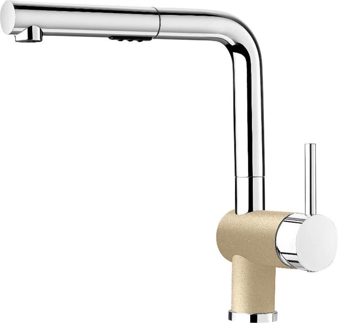 blanco 403844 posh single hole pullout spray kitchen faucet in chrome biscuit