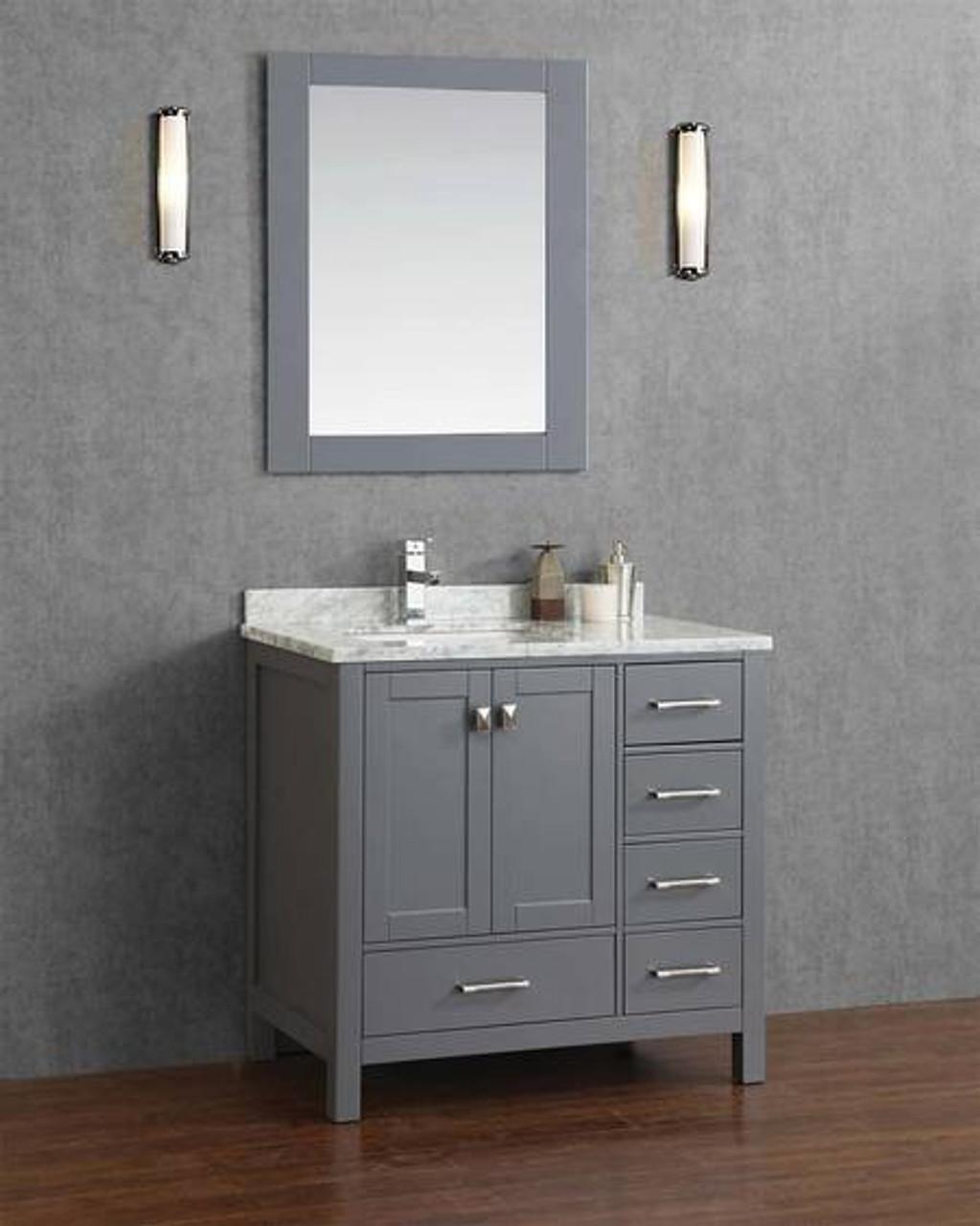armada 44 bathroom vanity ice grey left hand sink