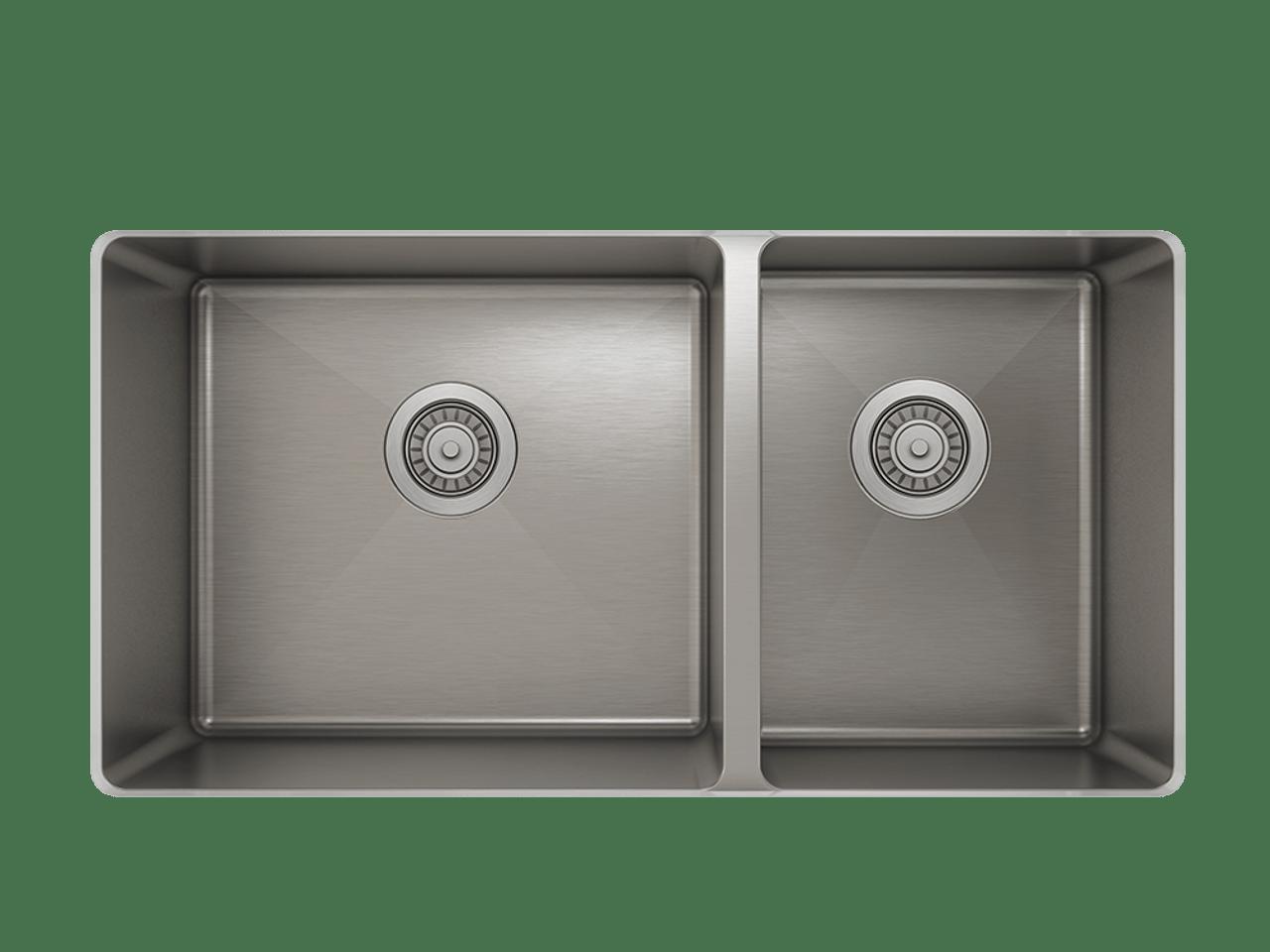 prochef proinox h75 60 40 double bowl undermount kitchen sink 30 x 16