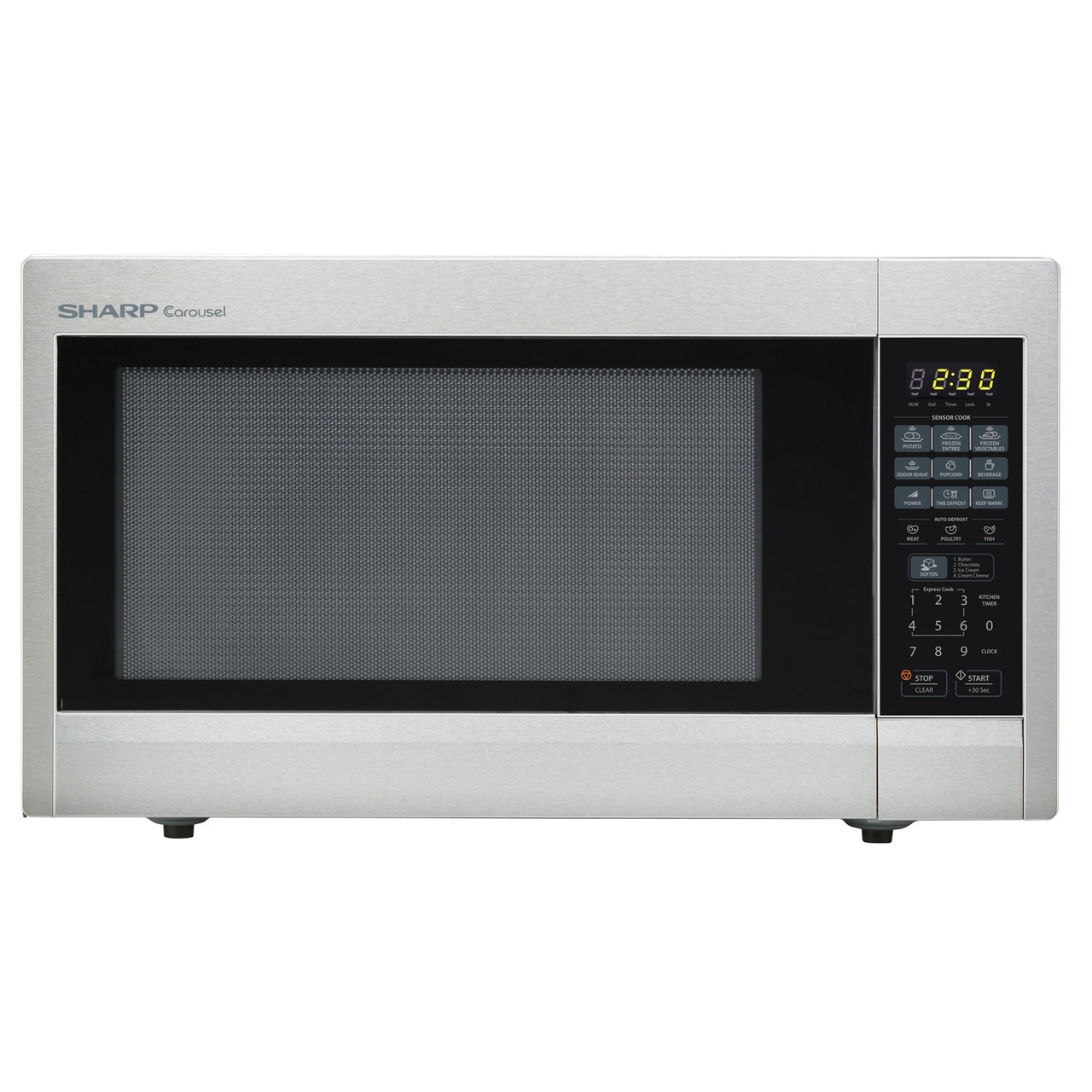 2 2 cu ft 1200w sharp stainless steel carousel countertop microwave oven r651zs