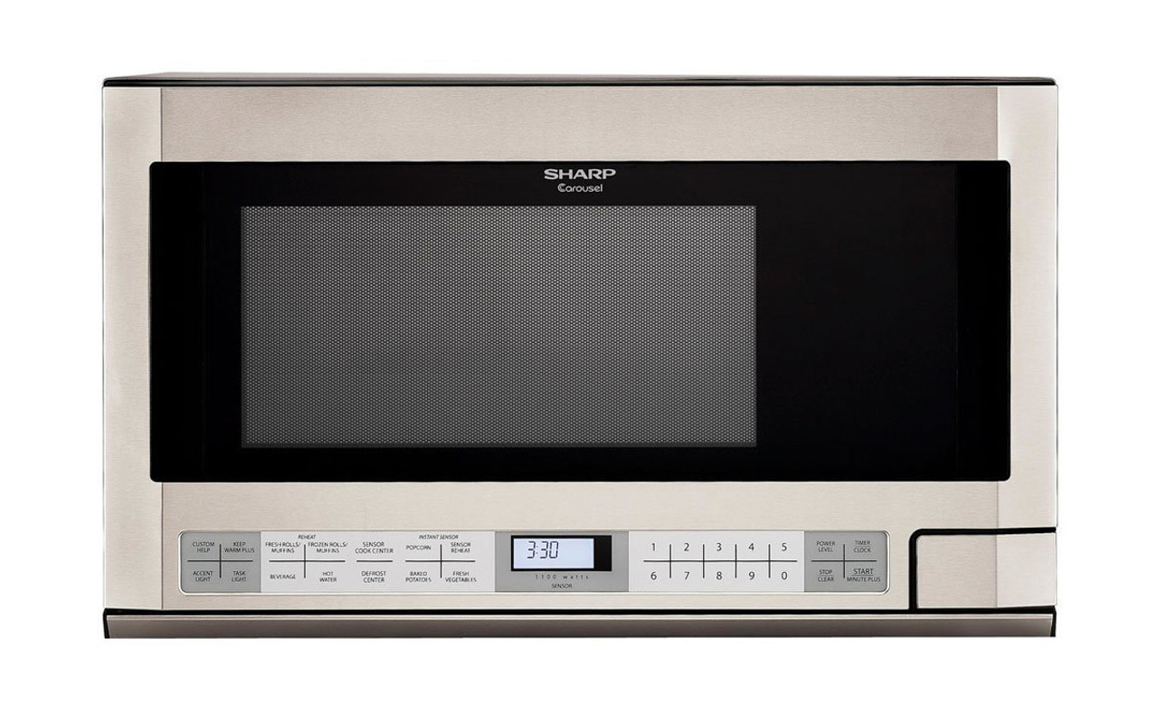 1 5 cu ft 1100w stainless steel sharp over the counter carousel microwave oven r1214ty