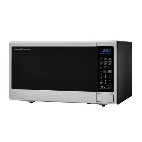 1 8 cu ft 1100w sharp stainless steel countertop microwave oven with black mirror door smc1843cm