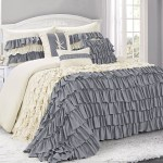 Hig 7 Piece Gray Ivory Microfiber Double Color Ruffled Decorative Comforter Set Queen King Calking