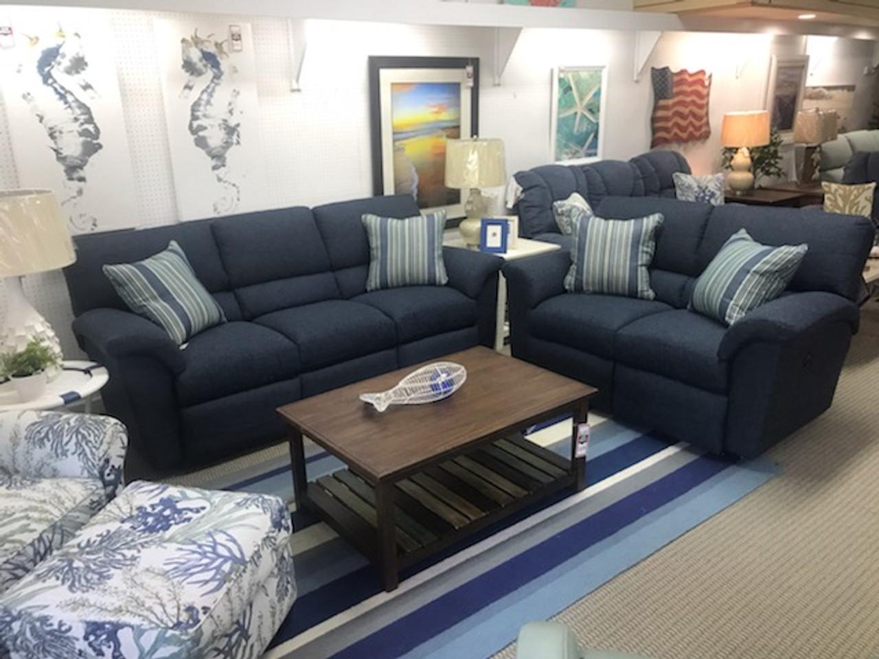 reese reclining blue sofa