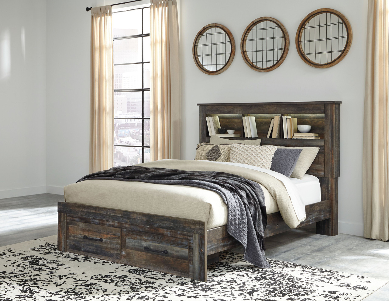 The Drystan Multi Queen Bookcase Storage Bed Available At Acf Wholesale Serving Columbus Ms