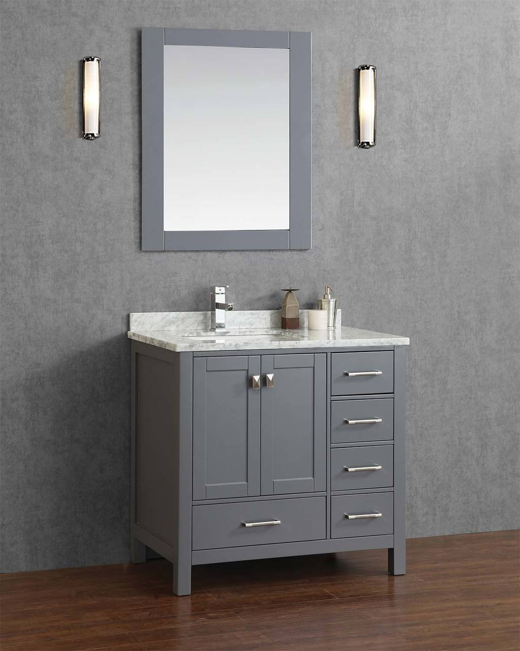 key west 40 gray offset left sink bathroom vanity
