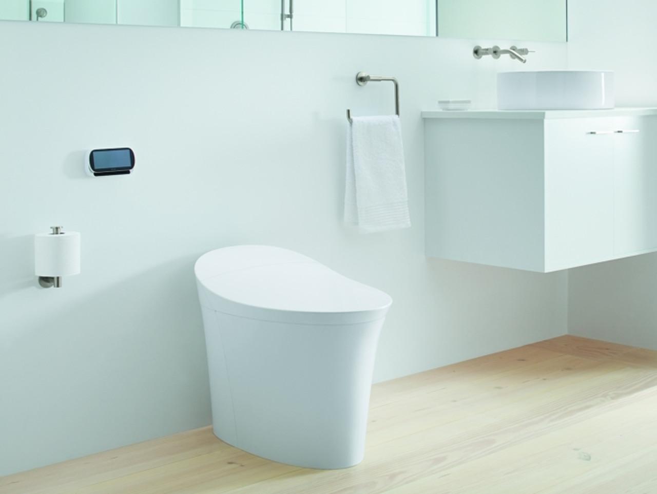 kohler veil intelligent skirted one piece elongated dual flush toilet