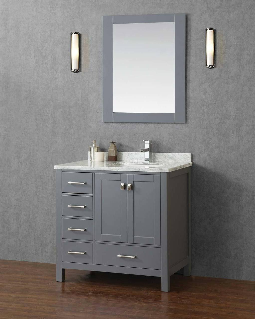 key west 40 gray offset right sink bathroom vanity