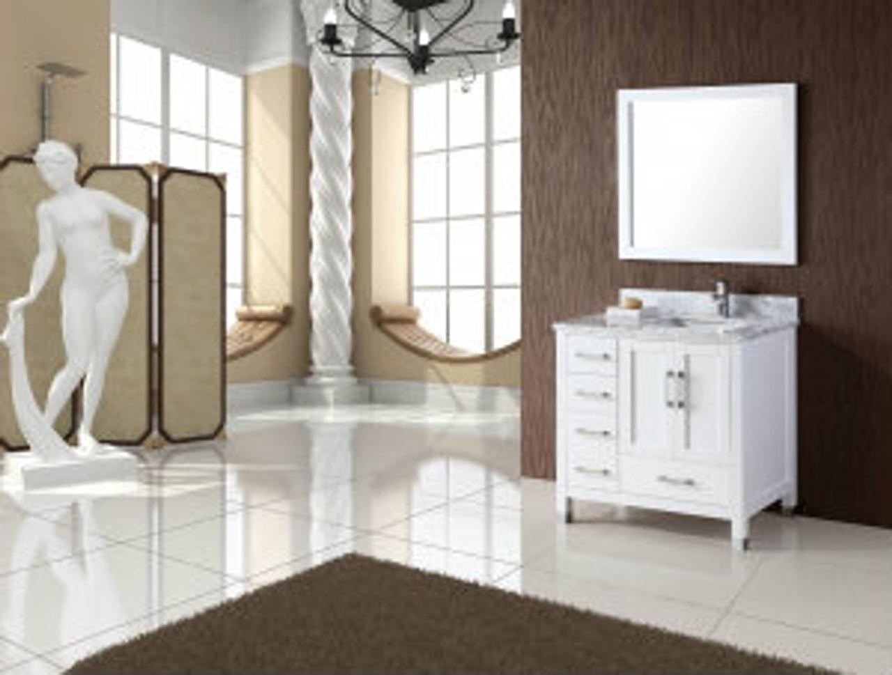 palmera 40 white offset right sink bathroom vanity