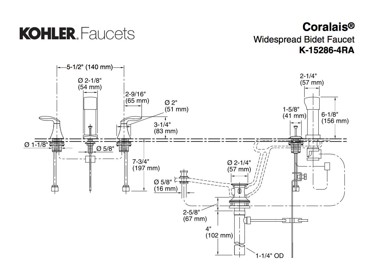 kohler coralais vertical spray bidet faucet with lever handles