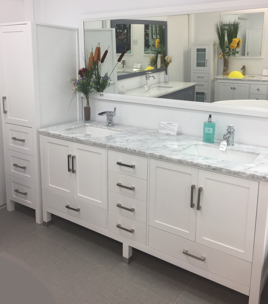 palmera 90 inch double sink bathroom white vanity side cabinet tower