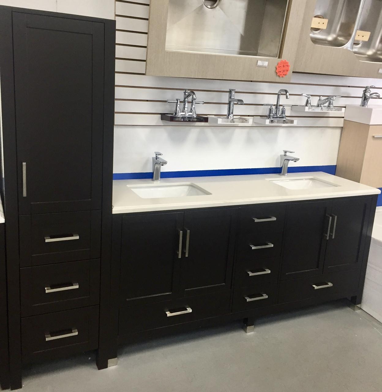 palmera 90 double sink bathroom espresso vanity side cabinet tower